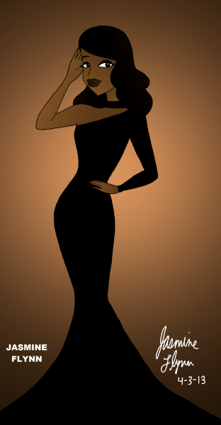 One Sleeved Black Dress. a digital drawing by me, Jasmine Flynn :)