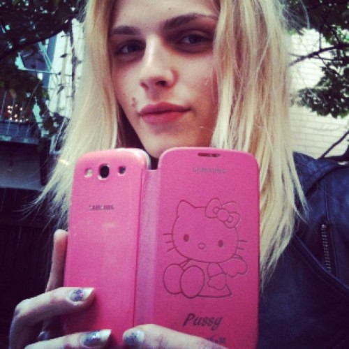andrejpejicpage:  Andrej Pejic and the customized Hello Pussy phone case. Source: ellemuliarchyk IG