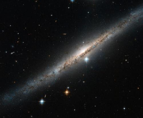 Hubble snaps a spiral streak side-on  NASA's space telescope has captured a rather impressive image of a thin, glittering streak of stars known as the spiral galaxy ESO 121-6, which lies in the southern constellation of Pictor (The Painter's Easel). Viewed almost exactly side-on, the intricate structure of the swirling arms is hidden, but the full length of the galaxy can be seen - including the intense glow from the central bulge, a dense region of tightly packed young stars located at the center of the spiral arms. Read more