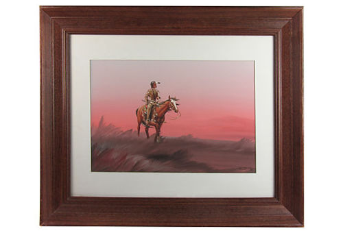 "Sunrise with American Indian scout on horseback, by the listed Kiowa artist Bobby Hill (1933-1984). Signed and dated ""White Buffalo, Kiowa, '74"" bottom right. Displayed in wood frame with simple white mat. Sold on One Kings Lane for their American Southwestern Vintage sale by Ruby + George"