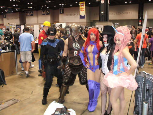 Nightwing, unknown, Starfire, Zatanna, and Cotton Candy Princess @C2E2 .  Rosanna Rocha as Starfire:  https://www.facebook.com/Rosanna.Rocha.Cosplayer?fref=ts Ani-Mia as Cotton Candy Princess:  https://www.facebook.com/Ani.Mia.Cosplay?fref=ts