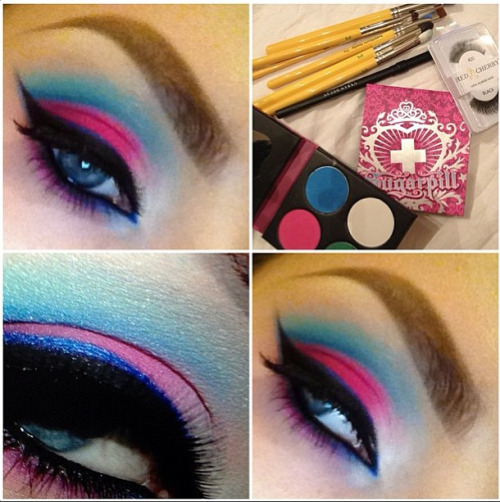sugarpillcosmetics:  This is exquisite! Stephelf used her Sugarpill Sweetheart and Heart Breaker palettes to create this stunning look. Always love her perfect eyeliner and brow shape! Flawless application all around! http://instagram.com/p/U4Oa_rRREO/