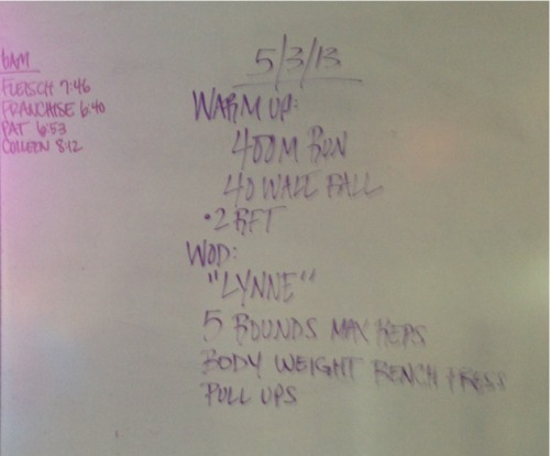 WOD 5/3/13  Great day at CrossFit! Mom and sister came! So fun. Don't have the numbers, but was benching 65#.   Maybe should of gone heavier since the first few rounds were 15+ reps and I think most were closer to 10.   Nevertheless, glad Mom got to see how it's done! :)