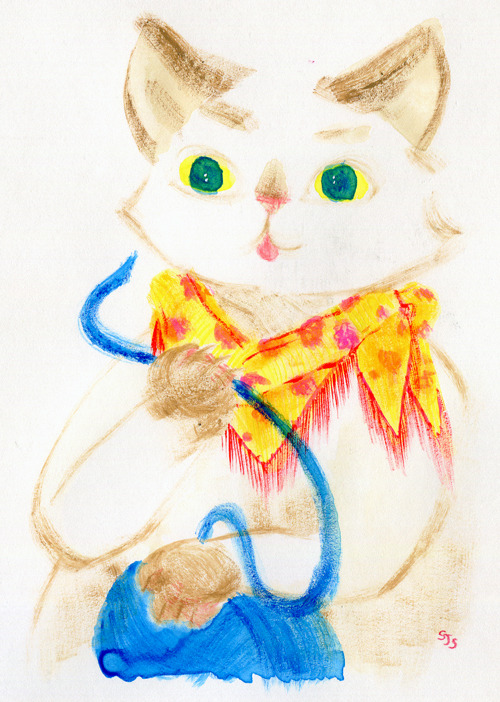 Animal speed portrait no.2, another suggestion from Jojo! Cat, gouache and watercolor on bristol.