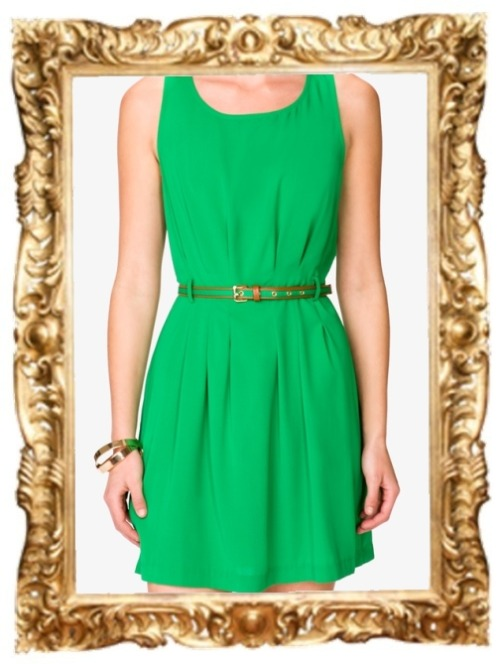 Pleated Dress with Belt - $15.80