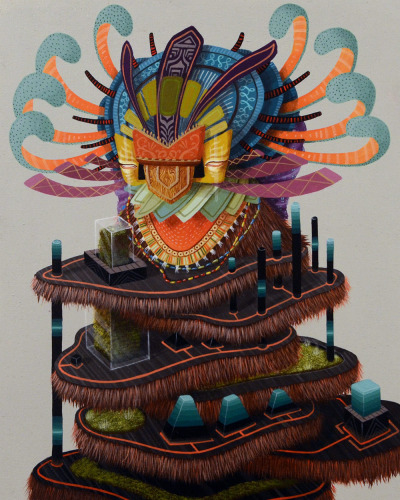 The Mexican artist The Curiot brings some extraordinary images. His murals are unique and spray well with message, because it uses recycled materials. It is based on ancient civilizations and make huge mythical creatures representing the majesty of nature in shaping their colors and textures.
