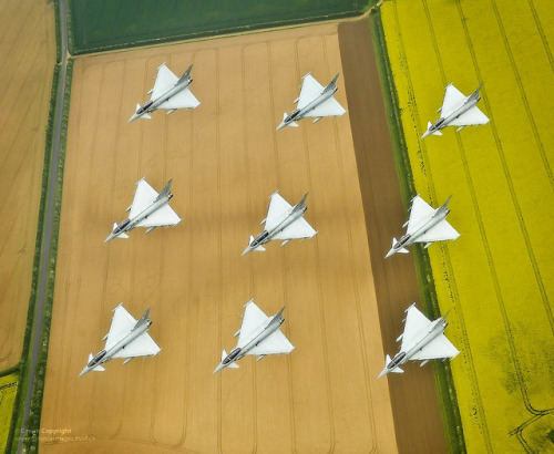 RAF Typhoon Aircraft in Diamond Formation by Defence Images on Flickr.