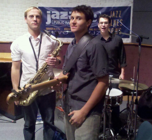 The Funky Fresh Trio is Josh Quinlan (effected tenor saxophone and keys), Patrick McDevitt (electric bass) and Alejandro Castano (drums)