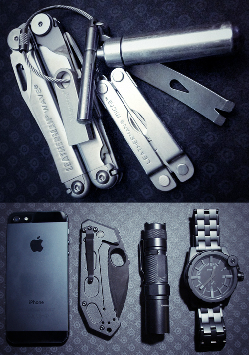 Everyday Carry Submitted By: Myfilthyheart Leatherman Wave - Purchase on Amazon Leatherman Micra - Purchase on Amazon Pill-Fob - Purchase on Amazon True Utility TelePen - Purchase on Amazon Kensington DTSE9 16GB flash drive - Purchase on Amazon CountyComm Micro Pocket Widgy Pry Bar Mechanics Keyring - Purchase on Amazon 32GB iPhone 5 - Purchase on Amazon Ka-Bar FIN - Purchase on Amazon Fenix LD10 - Purchase on Amazon Diesel DZ4235 - Purchase on Amazon