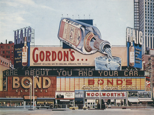 "tart-pastry:  ""Gordon's Gin"" by Richard Estes is a work of photorealism."