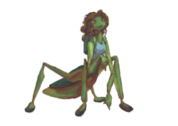 mantis girl! -hisses at people to go read monster pop if they dont already-