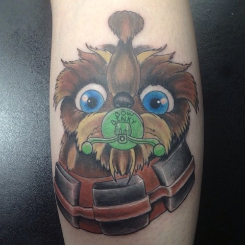 Wittle Chewy… #starwars #starwarstattoo #fanboy_fred #noegrets #tattoo #tattoos #chewbacca (at No Egrets Tattoo)