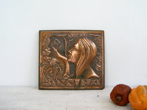 beautiful embossed copper drawing