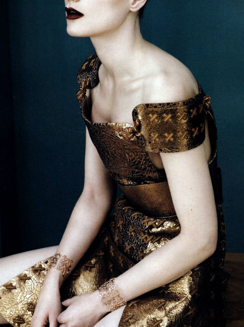 """full metal glamour (detail)"": guinevere van seenus wears rodarte in vogue china april 2011, by josh olins"
