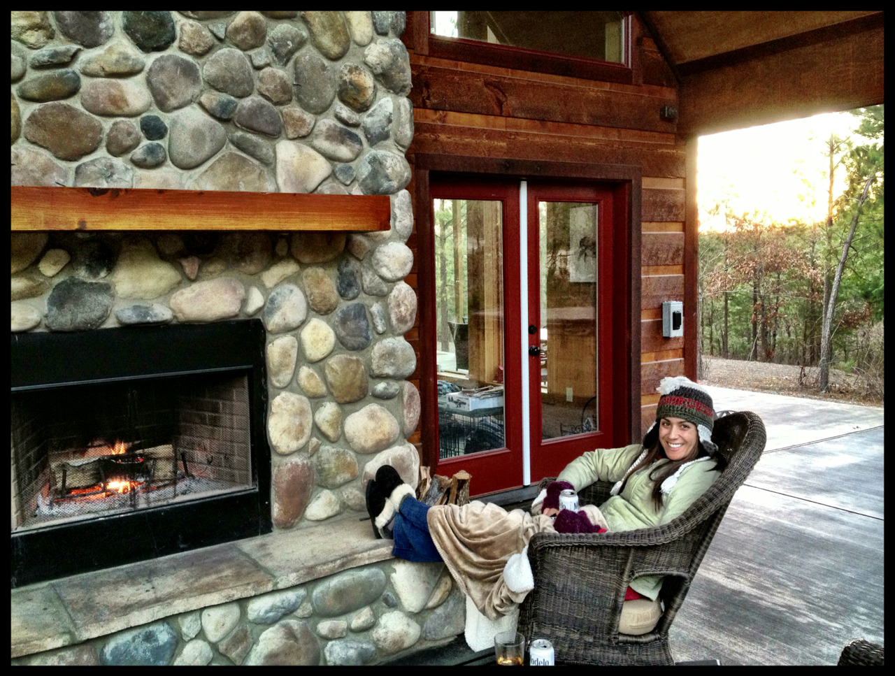 Cold weather, warm fire, and hot cider with rum, surrounded by pine trees at wanderlustcabin.com. Greatness!