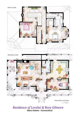 gilmoregirlstrivia07:  The upstairs and downstairs layout of Lorelai and Rory Gilmore's house.