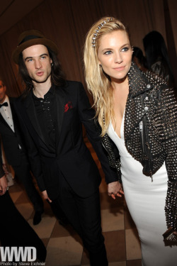 womensweardaily:  Celebrities Party Post 'Punk' Tom Sturridge and Sienna Miller, both in Burberry.