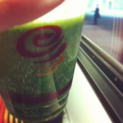 Healthy lunch of veggies and fruits and a train ride home. Thank you Jamba Juice.