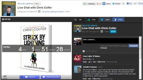 Live Chat with Chris Colfer on December 16, 2012 2pm CST3pm EST8pm UK9pm Germany/Netherlands/Sweden…