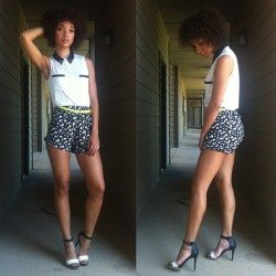 raybabyray:  #outfit for class today. #thrifted floral shorts. Heels from #Target. Top from #UrbanOutfitters. Can you guess which celebrity I'm channeling today?!