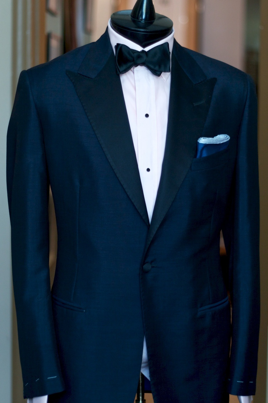 alanflusser:  Our navy mohair tuxedo: an elegant option for your formal events on warm summer nights.