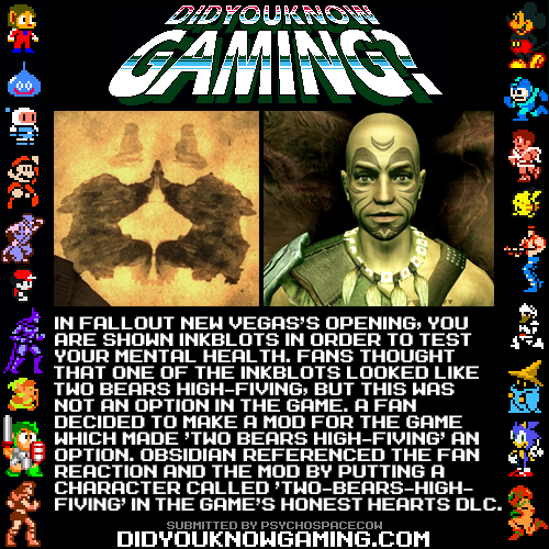 didyouknowgaming:  Fallout New Vegas. http://fallout.wikia.com/wiki/Two-Bears-High-Fiving