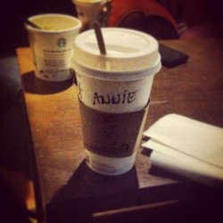 'Morning ritual' … Annie, apparently #coffee #starbucks #fmsphotoaday #photoaday #instagood #wakeup (at Starbucks)
