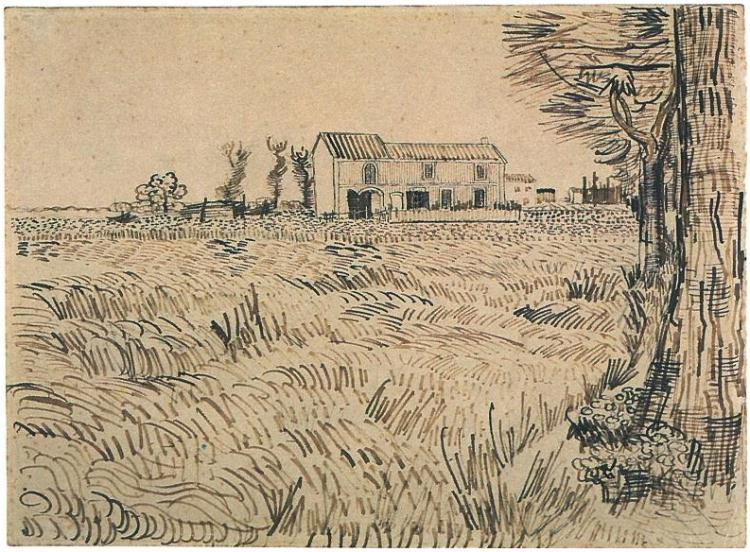 """Farmhouse with Wheat Field along a Road"" by Vincent Van Gogh Arles: April - early in month, 1888"