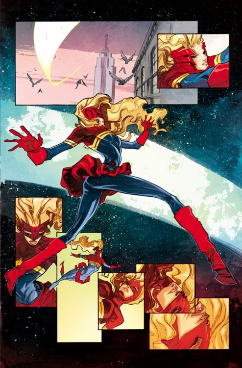 eschergirls:  romanadvoratrelundar submitted:  Carol Danvers, The Human Twizzler! from the Captain Marvel 10 preview  And once again, the world was saved by the heroic actions of Taffy Girl.