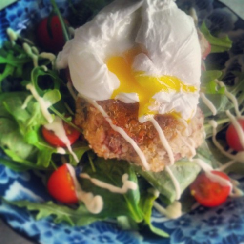 Got leftover quinoa? Make patties and top with a poached egg for breakfast! (at Bite Me HQ)