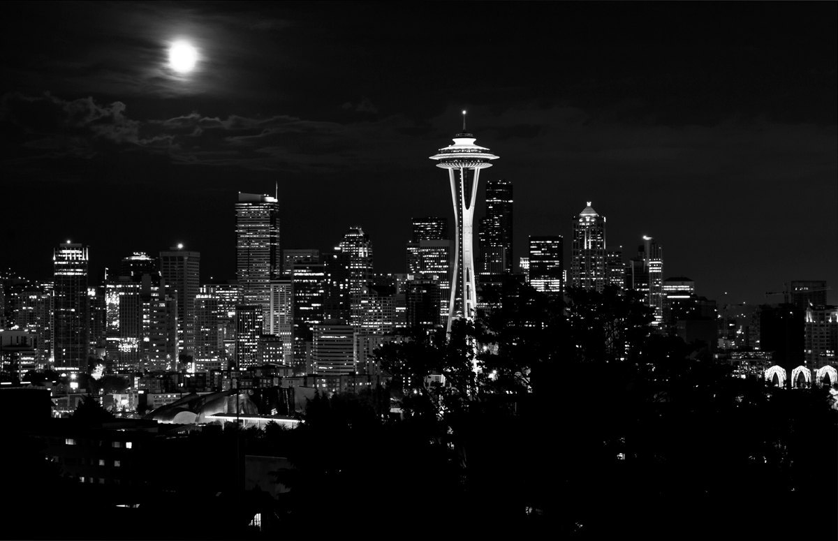 Fine Art Photographty - Black & White - Seattle Washington - Seattle Moonrise -8 x 12  Print- Paul Harrett Photography by PhotoCatcher (25.00 USD) Seattle, Moonrise, Space Neddle, Seattle Center, Cityscape, washington state, nightlights, Black and White, full moon, city, Wall Art