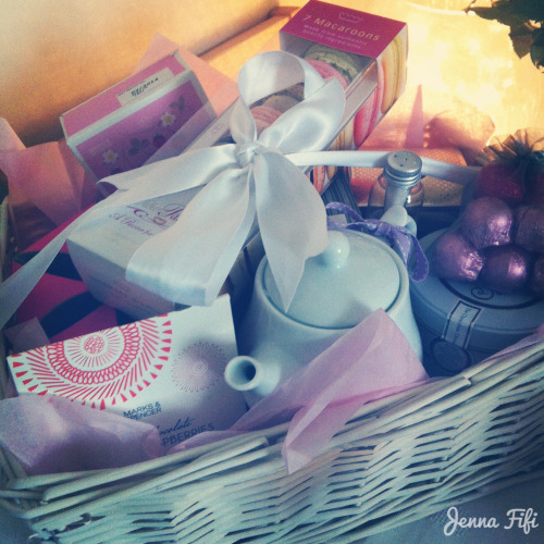 jennafifi:  Tea and chocolate treats hamper filled with Earl Grey, a tea pot, macaroons, Charbonnel et Walker hot chocolate, edible glitter and salted caramel truffles to name but a few