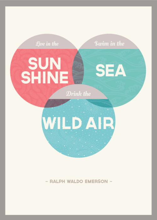 designersof:  live in the sunshine // swim in the sea //  drink the wild air print ————————get your work featured by submitting it to designersof.com