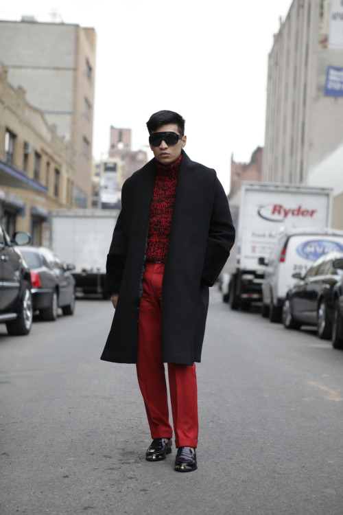 A very smart looking @BryanBoy in a black and red ensemble for #NYFW WGSN Street Shot, New York Fashion Week