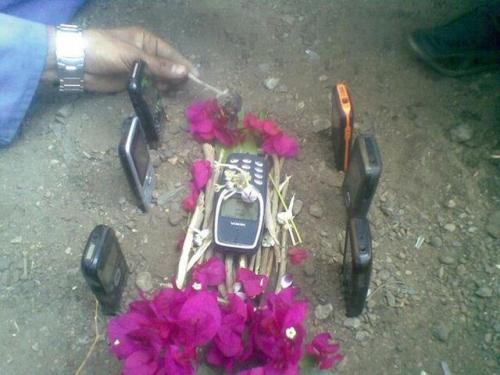 tibets:  cell phone funeral