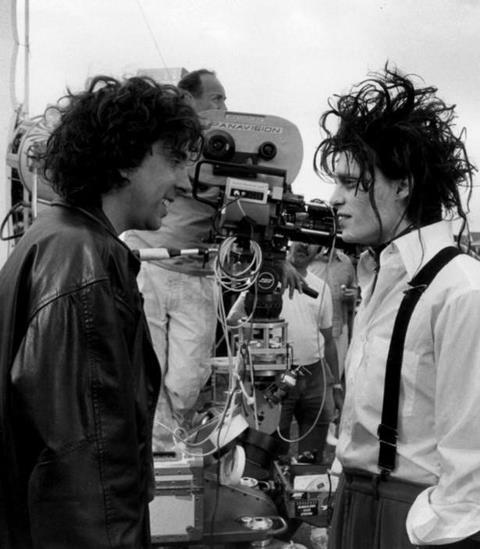 Tim Burton and Johnny Depp during the filming of Edward Scissorhands