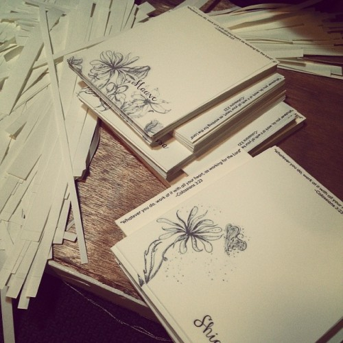 Preparing tons of orders :) I am beyond happy. #quirkydots #personalized notepads