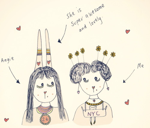 My friend Angie is such a super cool lady. This is a doodle of us. x