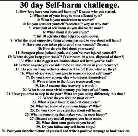 5) what part of self harm do you dislike the most? Probably being paranoid 24/7 that someone will see it or ask about it.