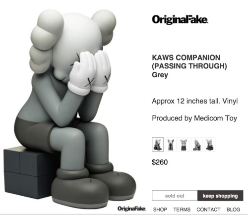 KAWS Grey Passing Through Companion - Sold Out