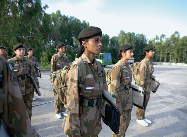 """On the Front Lines of Gender Equality with Pakistan's Lady Cadets Lady Cadet Wardah Noor, a slim 24-year-old Pakistani with deep-set eyes and an erect bearing, has pinned all her hopes on becoming a soldier. """"I found my civilian life to be slow moving and unsatisfying,"""" she told me one evening in September after a full day of class and training exercises at the prestigious Pakistan Military Academy (PMA). Raised in a middle-class home, Wardah had already earned a college degree in computer science but found little opportunity in her small village in Pakistan's Punjab province, where horse-driven carts were still the primary mode of transportation. She craved discipline and structure. She wanted, she realized, to join the army. LC Wardah was one of 32 women, ages 23 to 27, who comprised the PMA's 2013 lady cadet class. The Academy is located in the town of Kakul, just a few miles from the Abbottabad compound where Osama bin Laden was killed by a team of Navy SEALs in 2011. It's Pakistan's answer to West Point; it's just as hard to gain entry, and those who do, go on to lead young soldiers into battle. Gaining admission to the academy is highly competitive. Once enrolled, male cadets spend two years of rigorous physical training and the study of war craft. Female cadets at the PMA, however, receive only six months' training and then are assigned duties that don't involve direct combat, serving as members of the m"""