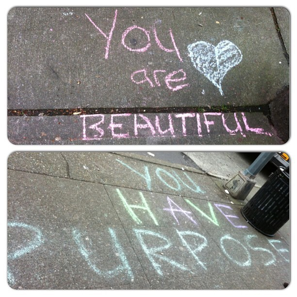Someone is leaving uplifting messages on the sidewalks of Capitol Hill #seattle #chalk #chalkgraffiti #upliftingmessages #capitolhill #sidewalks