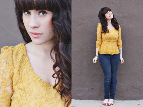 modcloth:  A sure way to brighten up a winter day? A sunshine-yellow top! We're loving this look form Elsie of A Beautiful Mess, which features a ModCloth top!