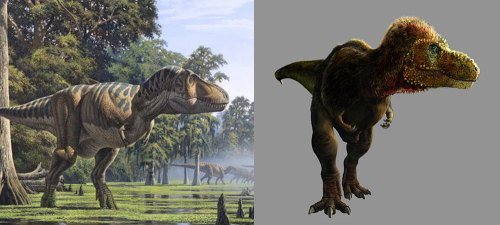 "The Evolution of Tyrannosaurus rex The terrible lizards of your childhood have changed quite a bit, despite having been dead for millions of years. Perhaps nowhere is that more evident than in ol' Sharptooth: T. rex Many folks without strong paleontology backgrounds (which, let's face it, includes most people … including me) don't appreciate how little we really know for sure about these prehistoric forms. We go to a museum, we see a fossil reconstruction of an immense dinosaur, and we assume that's how it came out of the ground. That's not the case. While the Field Museum's famous T. rex ""Sue"" was 80% complete upon excavation, the first specimen ever constructed was done so with just a suitcase's worth of bones. See the shaded regions in the upper left drawing? That's the 108-year-old first reconstruction of T. rex done by W.D. Matthew. And it's very wrong. Even into the 1940's, when Rudolph Zallinger painted The Age of Reptiles mural (top right) for Yale's Peabody Museum, T. rex was still a clumsy, chubby, upright tail-dragger that looked more like a drunk Godzilla than king of the dinosaurs. By the 1970's it was clear to scientists that T. rex could not have have held its body that way, and instead moved holding its head and tail nearly parallel to the ground. But the tail-dragger myth persisted, and in 1988's The Land Before Time (which, let's face it, is where most of us first formed our images of dinosaurs) Sharptooth was frustratingly upright (see middle left). Combine that with the ridiculously impossible, ninja-like aerial assault on Littlefoot's mom, and we have a real dino science stinker on our hands. Stan Winston's Jurassic Park finally got the head-down pose right (middle right). Yet children and college students still overwhelmingly draw T. rex as upright. Modern paleoartists (like Raul Martin, lower left) get it consistently right, but the public doesn't. It shows you just how important it is to deliver good science to kids, because even today I can feel the upright pose of my T. rex dinobot calling me back to wrongville. And as we continue to learn more about Tyrannosaur relatives and the feathery frills they sported, we are beginning to see many artists add them to the great hunter (lower right, by pheaston). Plumage rarely shows up in fossils, and scientists and artists have to be careful not to make errors of incompleteness like we saw 108 years ago. But considering how good Velociraptor looks with that fancy outfit on, I think we'll see more and more feathery fury on T. rex in the future. At least none of YOU will ever draw it incorrectly again, right? :) For more cool dino illustration, check out Fuck Yeah Dino Art."