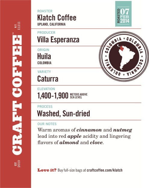 craft coffee, coffee label, coffee producer, coffee roaster, coffee variety, coffee elevation, coffee processing, coffee tasting notes