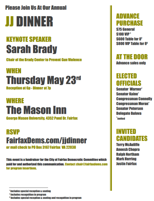 Announcing our annual Jefferson-Jackson Dinner, with Sarah Brady as our keynote speaker. Tickets are on sale now and seating is limited.