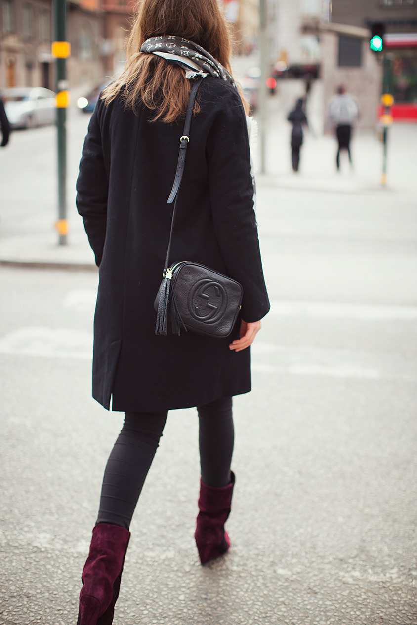 the-royal-treatment:  what-do-i-wear:  Bag Gucci, boots Marant, coat Bruuns Bazaar, scarf LV and denim from H&M. (image: carolinesmode)  the-royal-treatment