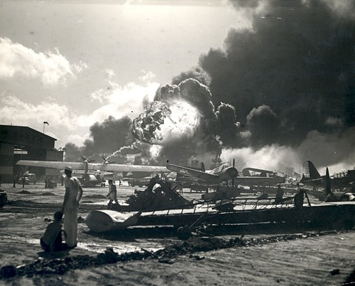 Japan attacks Pearl Harbor, Hawaii A photo of the wreckage-strewn Naval Air Station at Pearl Harbor following the Japanese attack the morning of December 7, 1941.  More historical Pearl Harbor documents and photos at Franklin D. Roosevelt: Day by Day -From the FDR Library Photograph Collection, NPx 65-458a