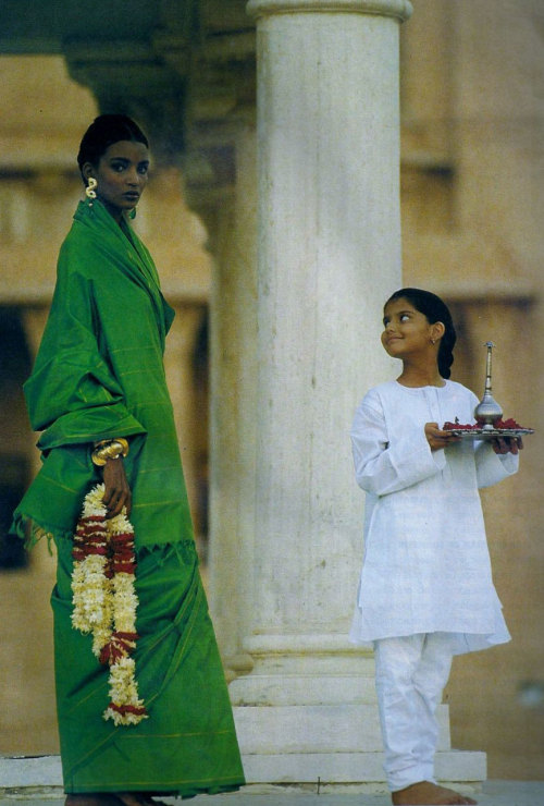 "80s-90s-supermodels:  ""Khadidja Et Le Maharadjah"", Elle France, December 1989Model : Khadidja Adams"