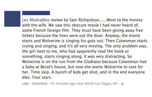 Found on Facebook: Les Miz review.